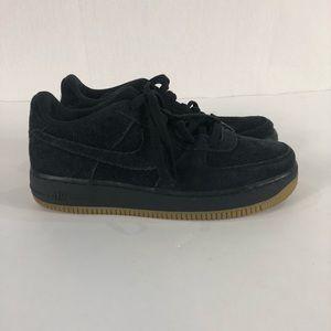 Nike Black Suede Air Force Ones Size 6.5Y